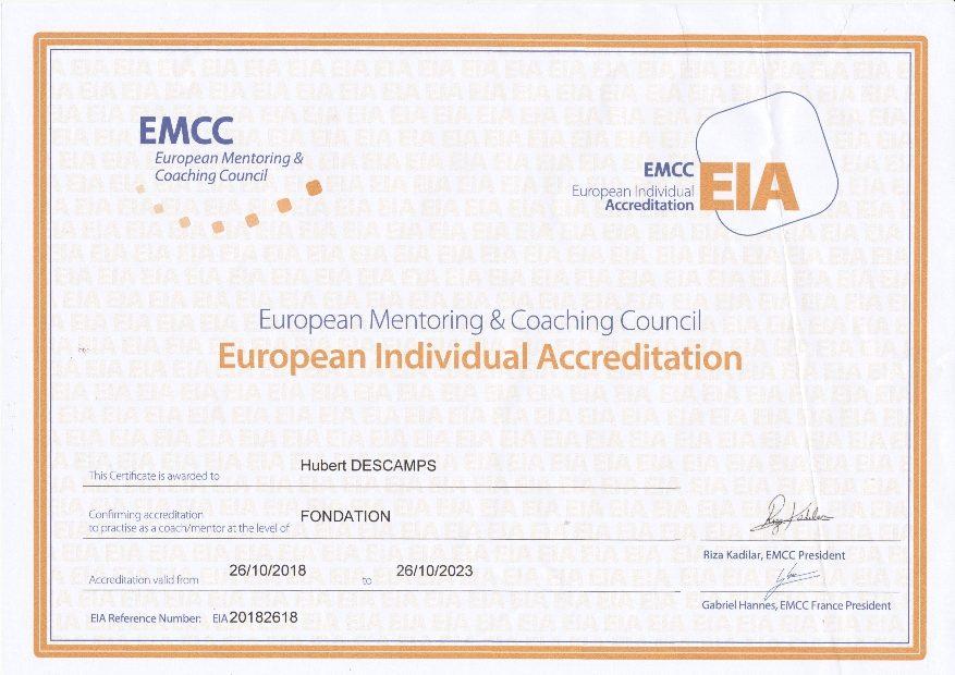 Diplôme accréditation EMCC, Hubert Descamps Coaching.